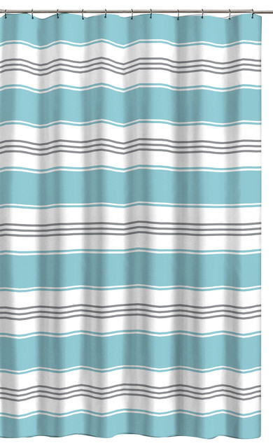 Alternating Stripe Shower Curtain Aqua, Shower Curtains Gray And Blue