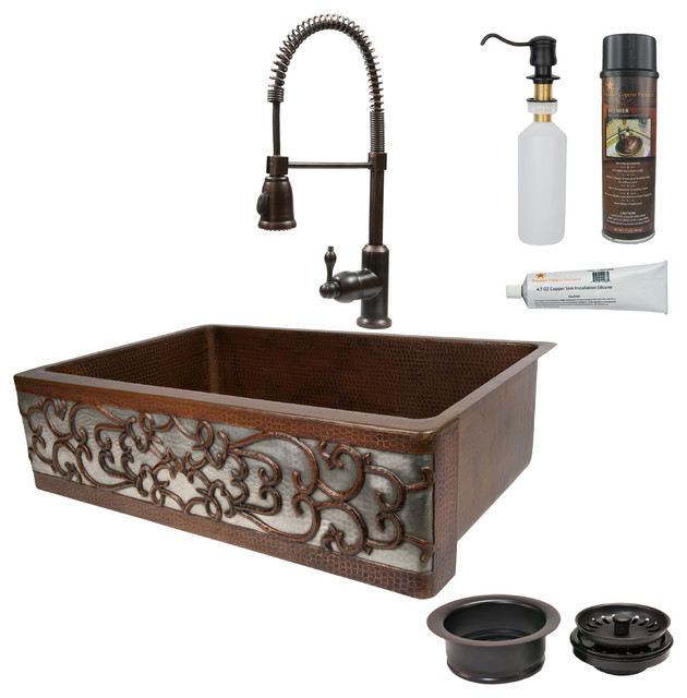 """33"""" Hammered Copper Single Basin Sink With Scroll, Apron Front Nickel."""