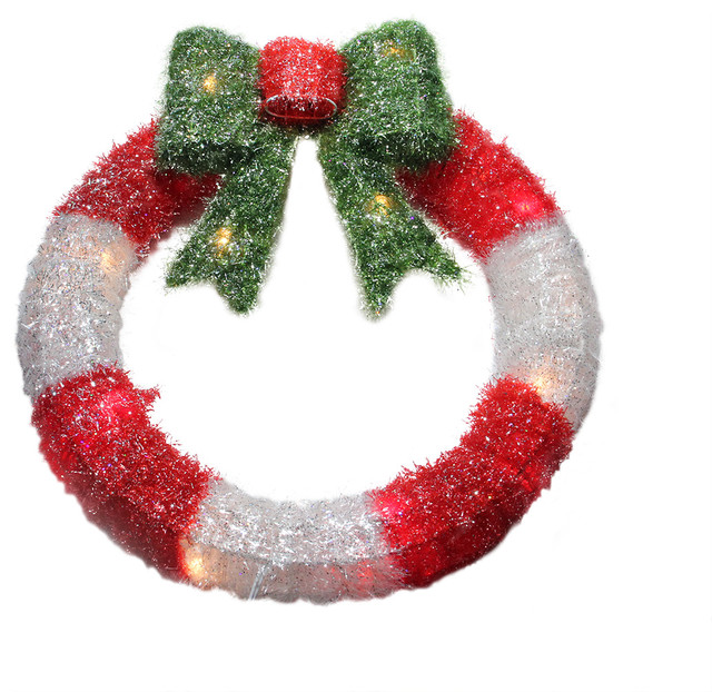Lighted Tinsel Wreath With Bow Christmas Window Decoration Red And White 16