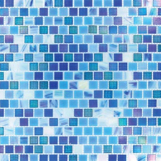 Opaque Blue Rainbow 15Mmx15Mm, Misc, Glass, Mosaics