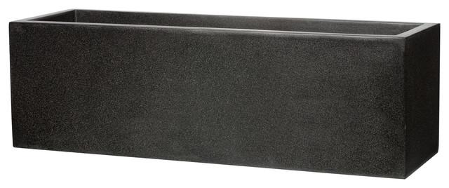 Trough Fiberstone Contemporary Black Planter, 28x88x28 Cm