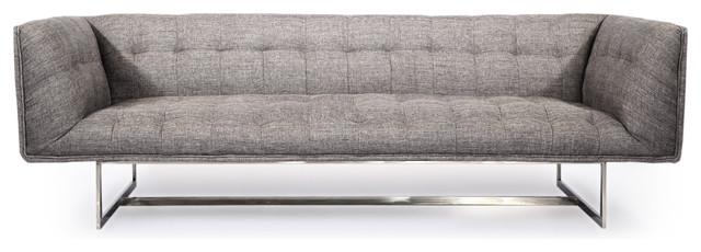 Edward Midcentury Modern Classic Sofa, Deco Gray, Twill Contemporary Sofas