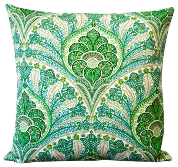 Green Polyester 18 X 18 Outdoor Throw Pillow Set Of 2
