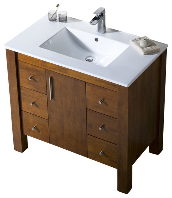 Parsons 37 Porcelain Top Vanity Transitional Bathroom Vanities And Sink Consoles By Bathroom Place Houzz