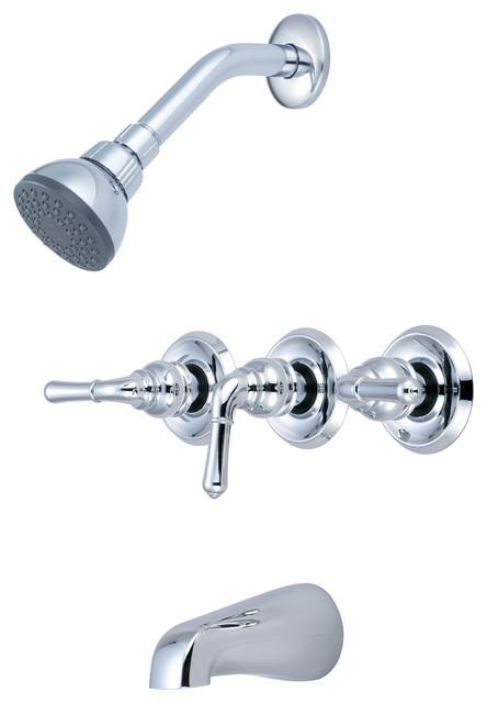 Three Handle Shower Faucet.Elite Three Handle Tub And Shower Set Polished Chrome