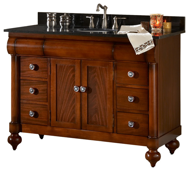 "John Adams 48"" Vanity, Brown Cherry And Green Granite Top."