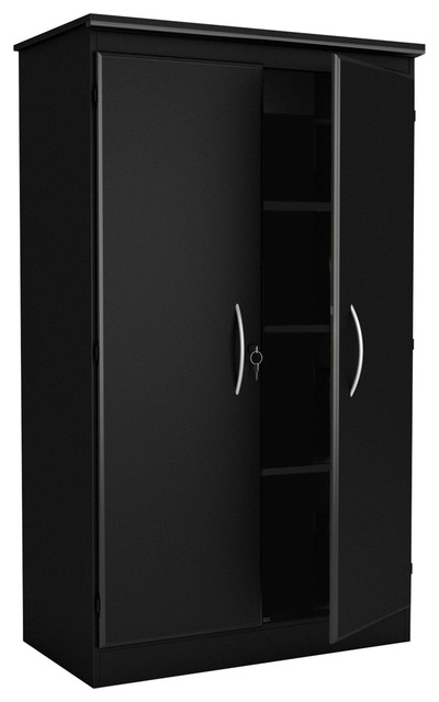 Black Storage Cabinet With 2 Doors Great For Bedroom Wardrobe Armoire And Office