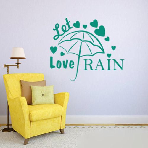quot let love rain quot vinyl wall art sticker decal diy contemporary wall sticker round flower pattern art