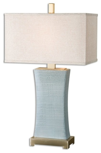 Light Blue Houndstooth Table Lamp.
