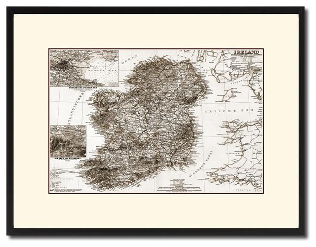 Ireland Vintage Old Sepia Map Print On Canvas With Black Custom ...