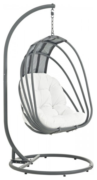 Whisk Outdoor Patio Swing Chair With Stand, White.
