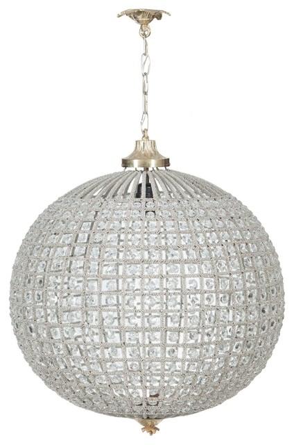 Cast Brass and Diamond Globe Pendant Light