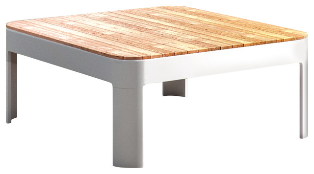 Pelham Aluminum And Teak Outdoor Square Cocktail Table