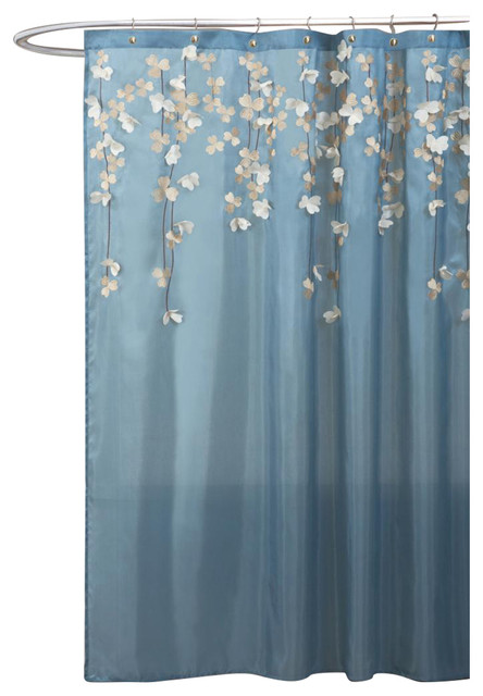 Lush Decor Flower Drops Federal Blue and White Shower Curtain ...