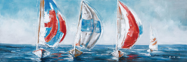 """""""sailing With The Wind"""" Hand Painted Canvas Art, 60""""x20""""."""