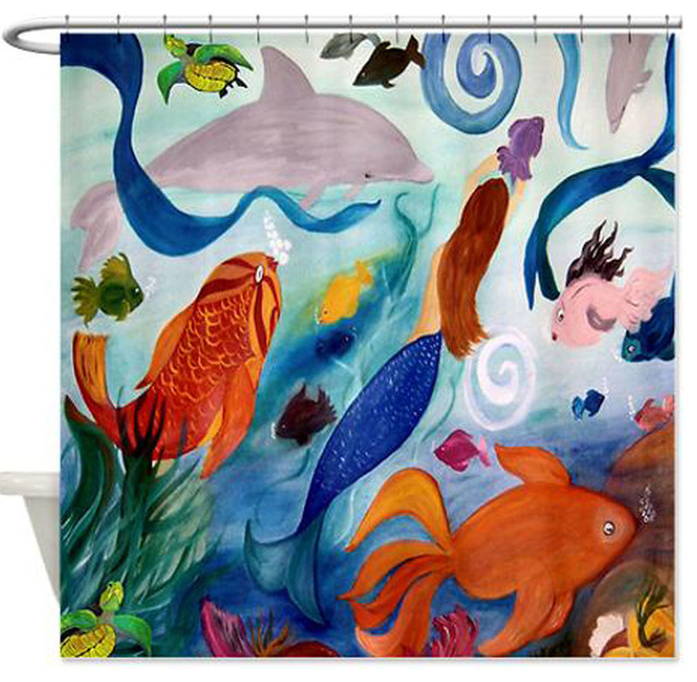 Tropical Fish And Mermaid Shower Curtain Shower Curtains  Tropical Shower Curtain