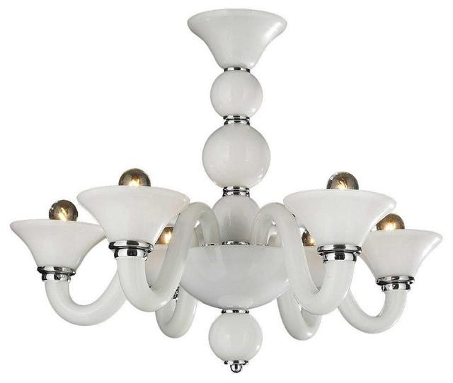 Murano Venetian Style Light Blown Glass White Finish Chandelier
