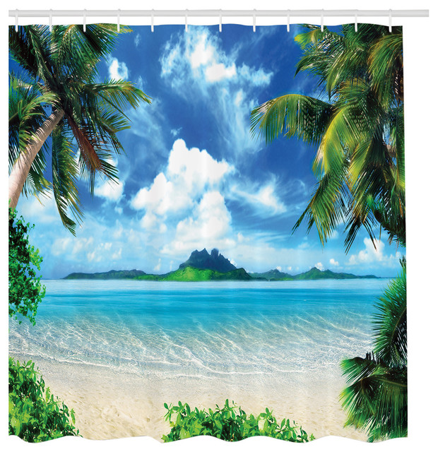 Tropical Island Palm Tree Beach Getaway Fabric Shower Curtain ...