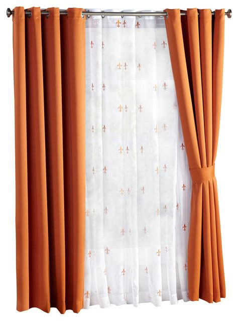 Fleur De Lis Blackout Curtains 6 Piece Set Burnt Orange 54 X4