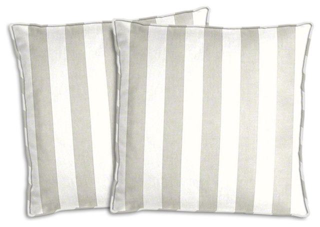 Platinum Gray And White Striped Outdoor Pillow Set Traditional