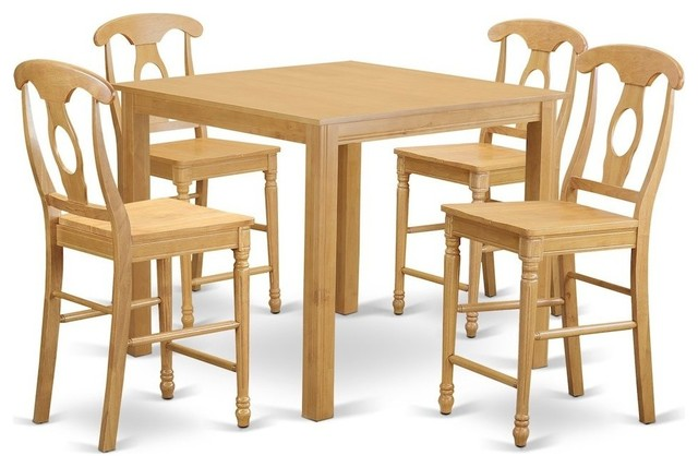 5-Piece Counter Height Dining Room Set, High Table And 4 Dining Chairs by East West Furniture