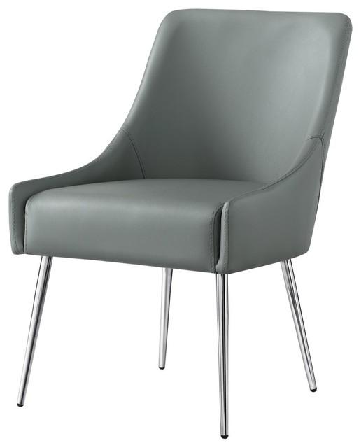 Fine Fergo Dining Chair Set Of 2 Gray Leather Pu Armless Leg Chrome Creativecarmelina Interior Chair Design Creativecarmelinacom
