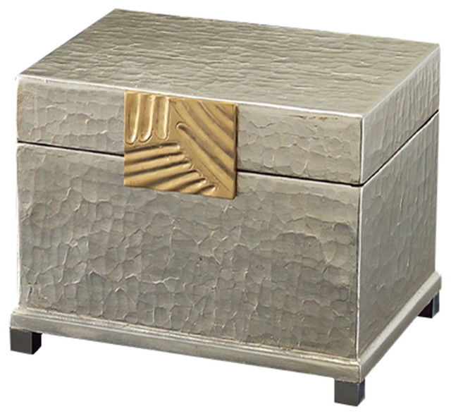 john richard silver leaf and brass box jra 9187 transitional decorative boxes - Decorative Boxes