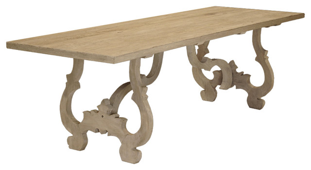 Nantes French Country Carved Reclaimed Elm Wood Dining Table  Traditional Dining Tables
