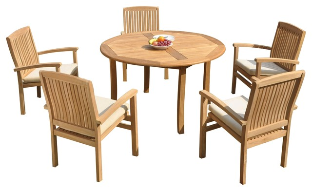 Pleasing 6 Piece Outdoor Teak Dining Set 48 Round Table 5 Wave Stacking Arm Chairs Cjindustries Chair Design For Home Cjindustriesco