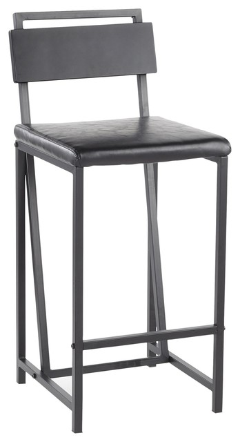 Miraculous Gia Counter Stool Black Metal With Black Faux Leather Set Of 2 Andrewgaddart Wooden Chair Designs For Living Room Andrewgaddartcom