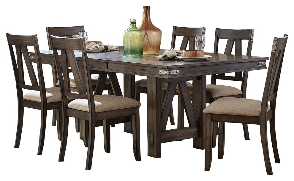 7 Piece Mirkwood Industrial Dining Set, Rustic Dining Room Table Sets