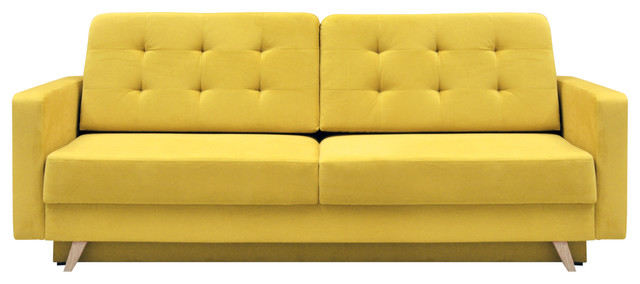 Vegas Futon Sofa Bed, Queen Sleeper With Storage, Yellow