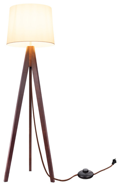 Synnove Wood Tripod Floor Lamp, Walnut Finish Legs.