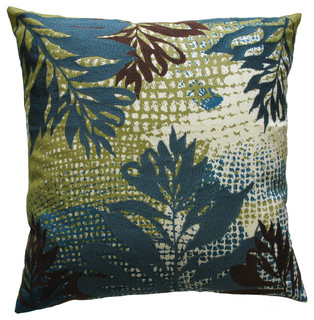 Modern Living Oxidized Leaf Decorative Pillow : Ecco Pillow, Blue/Brown Leaf - Contemporary - Decorative Pillows - Newark - by Rhadi Living