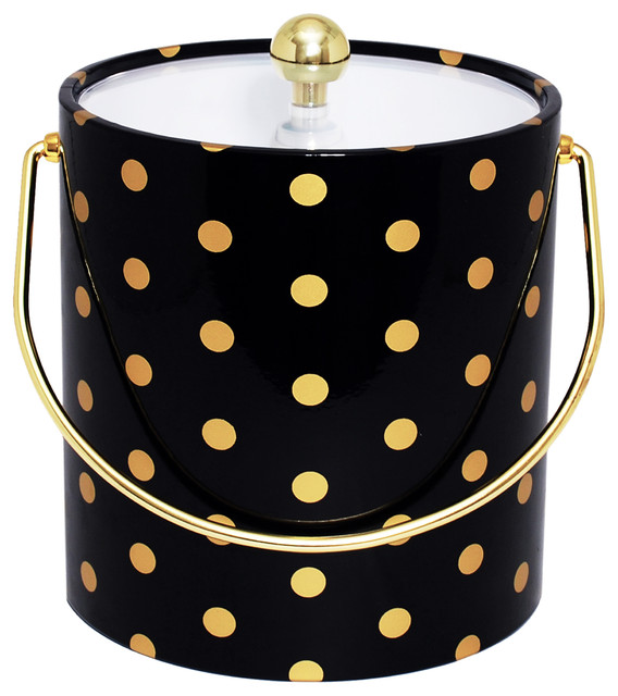 Ice bucket red polka dots modern ice tools and