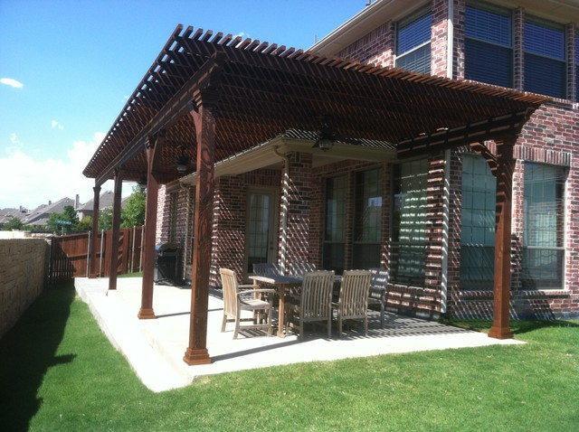 Stained Cedar Lattice Patio Cover Extension Dallas By