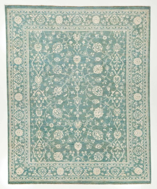 Hand Woven Silk Area Rug With Borders Blue And White 8x9.1 Traditional Area