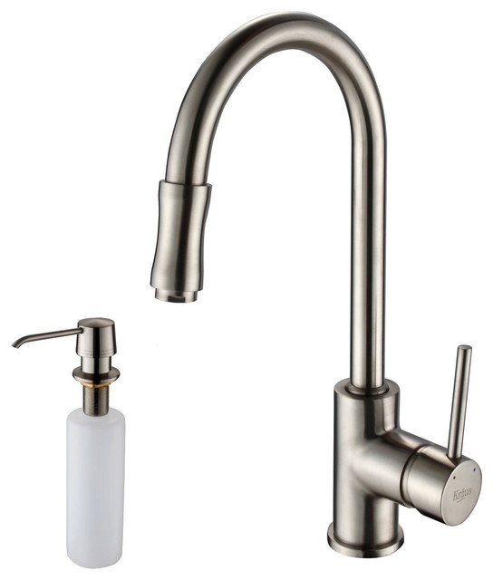 Single Lever Pull-Down Kitchen Faucet And Soap Dispenser, Satin Nickel.