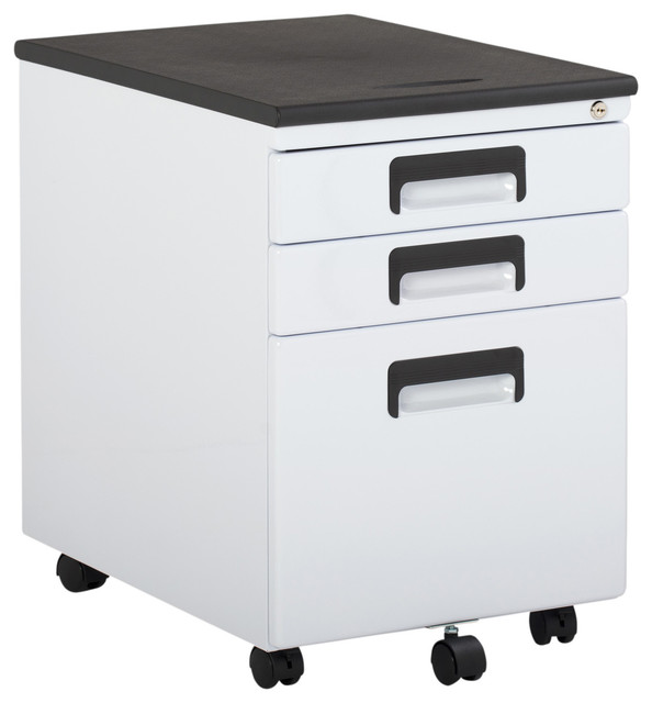 Superbe Offex 3 Drawer Metal Rolling File Cabinet With Locking Drawers, White/Black