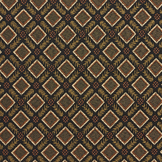 Black Gold Green Orange Diamond Damask Upholstery And Drapery Fabric ...