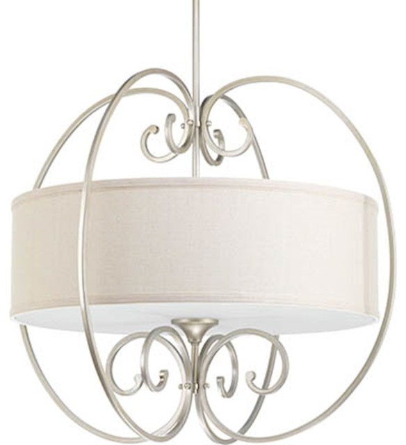 "Progress Overbrook 4-Light 28"" Pendant, Silver Ridge/fabric Shade."