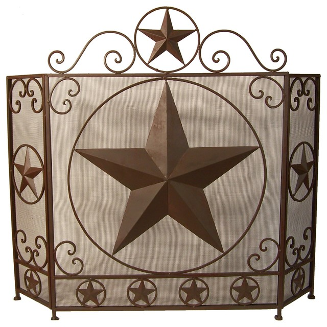 Metal Fireplace Screen With Star.