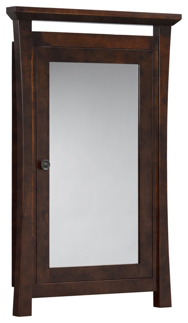 "Sachi 25""x39"" Wood Framed Medicine Cabinetith Mirror And Shelf, Coffee."