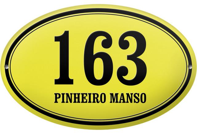 "Oval ""Pinheiro Manso"" Enamelled Wall Plaque, Yellow, Double Border"