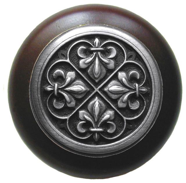 Fleur-De-Lis Walnut Wood Knob, Antique-Style Pewter ...