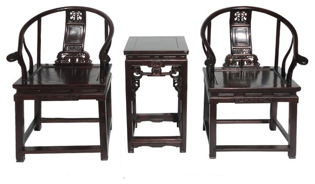 Chinese Antique Rosewood Horseshoes Back Armchair Set  asian-living-room-furniture-sets - Chinese Antique Rosewood Horseshoes Back Armchair Set - Asian