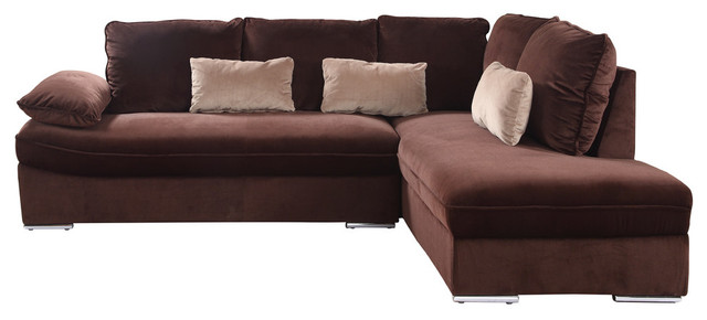 Classic Large Brush Microfiber L-Shape Sectional Sofa Couch With Chaise  Lounge