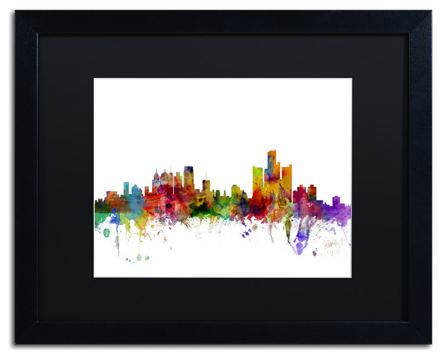 Quot Detroit Michigan Skyline Quot Matted Framed Canvas Art By