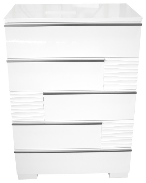 Athens, White Lacquer 5-Drawer Chest.