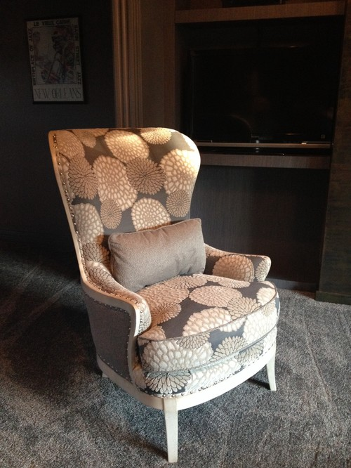 Custom Designed Arhaus Portsmouth Chair With Cool Ivory Wood Finish.